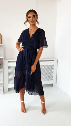 wedding outfit guest women Perrie Frill Maxi Dress in Navy Wedding Outfits For Women, Summer Wedding Outfits, Best Wedding Guest Dresses, Wedding Dress, Summer Dresses, Summer Wedding Guest Outfits, Dresses To Wear To A Wedding As A Guest, Casual Wedding Outfit Guest, Wedding Guest Style