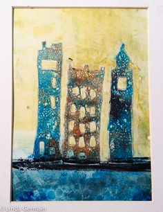 gelatin monoprint of cityscape = click through for stencil making tips.