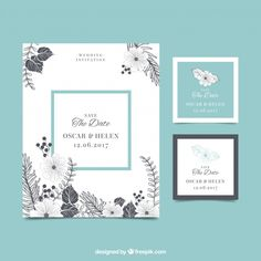 Vintage wedding invitation with flowers Free Vector