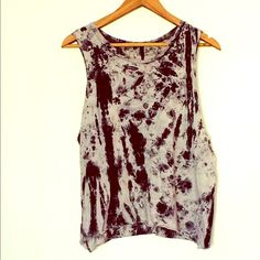 Tie dye cutoff shirt Super cute!!! Worn once, soft lightweight cotton sleeveless cutoff shirt. Black and white tie dye. Made by love culture Love Culture Tops Tank Tops