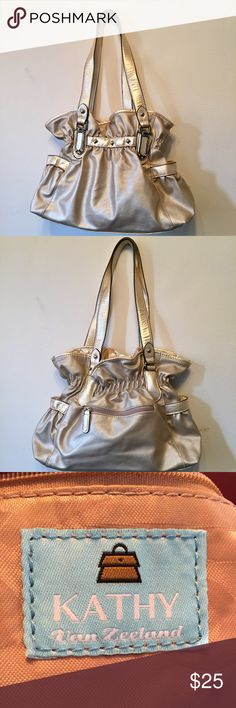 Kathy Van Zeeland bag Prettty cream colored Kathy Van Zealand bag in great condition!  Has 3 pockets inside and 3 on outside. Measures approximately 20x 14 Kathy Van Zeeland Bags Satchels