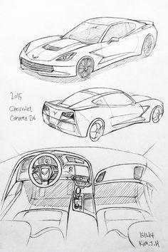 Car drawing 151214 2015 Chevrolet Corvette Z06      Prisma on paper.  Kim.J.H