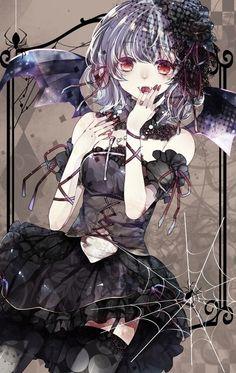 anime girl art illustration black dark