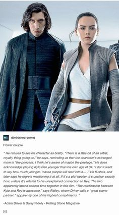 """The relationship between Kylo and Rey is awesome."" - Daisy Ridley. Star Wars: The Last Jedi, Reylo, Kylo Ren, Rey"