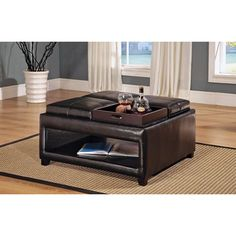 Beautiful and functional collection of 36 top brown leather ottoman coffee tables. This is a terrific resource for your living room furniture plans. Square Ottoman Coffee Table, Leather Ottoman Coffee Table, Footstool Coffee Table, Brown Ottoman, Ottoman Table, Cool Coffee Tables, Coffee Table With Storage, Table Tray, Cocktail Ottoman