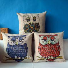 Decorativo do Vintage Pillow Cotton Linen fronha criado almofada coruja dos desenhos animados decorativa Pillow Home Decor Throw Pillow almofada