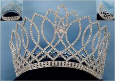 Beauty Pageant silver contoured rhinestone crown tiara