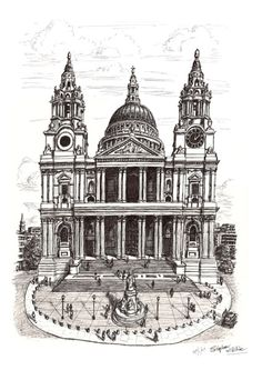 St Pauls Cathedral London - drawings and paintings by Stephen Wiltshire MBE