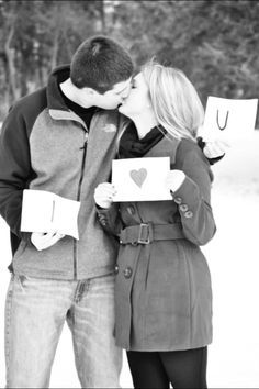 Cute couple pose for engagement pictures :)