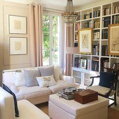 Art, bookshelves, French doors, pillows, chair