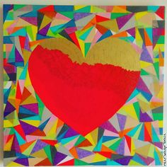 There\'s someone with heart out there? ❤ #heartcollage #artcanvas #diycanvas #canvasart #tissuepaperart #heartcanvas #canvasheart #decoupageart #decopaupage #decopatchpaper + #tissuepaper #craftart #decopatch #silkepapir #collagecanvas #kaleidoscopeheart