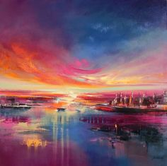Land of Dreams - 100 x 100 cm, abstract landscape oil painting in purple, blue and pink