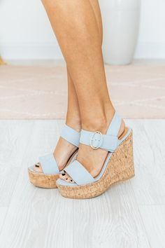 This shade of blue pulled us out of the chilly weather blues! Add them to your closet while you still can! Pink Wedges, Summer Wedges, Wedges Outfit, Expensive Shoes, Buy Shoes Online, Shoe Boutique, Wedding Heels, New Shoes, Shoe Brands