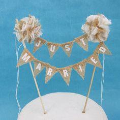 Rustic wedding cake Burlap Ivory Pompom by Hartranftdesign on Etsy, $36.00