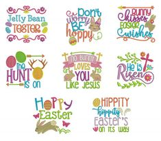 Easter Word Art Set 2 Machine Embroidery Designs by JuJu