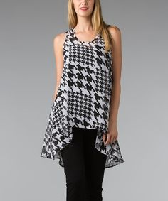 Black & White Houndstooth Hi-Low Top