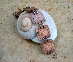 copper metal work bracelet with bronze wire by EdisLittleTreasures, $48.00