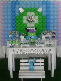 decoração monstros sa provençal, mike, sulley, boo, mesa temática, decorada, ideia, festa menino, festa menina, 1 aninho, festa maiores