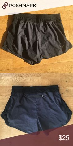 """Mizuno Drylite Black Running Shorts Mizuno Drylite square black running shorts, in excellent condition! Worn once. Size small. Back pocket (see pic) and liner.   Measurements: Waist: 12.75"""" (unstretched) laid flat  Waist: 16"""" stretched  Inseam: 3.5"""" Mizuno Shorts"""