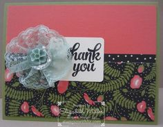 Stampin Up tin of cards and a tutorial on the lace ribbon