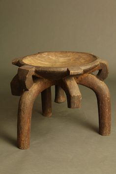 A rare type of Tanzanian stool with three arched supporting legs.This form is used by the Hehe and Gogo in the central southern region of Tanzania. It was not a stool for daily use rather user only by men of rank,important elders or chiefs. H –  38 cm. £750