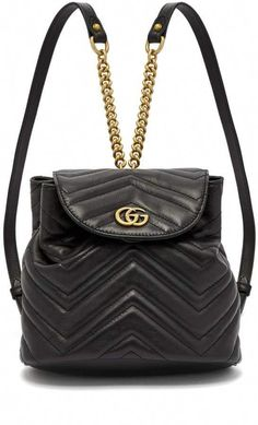Gucci GG Marmont quilted-leather backpack - Gucci Backpack - Ideas of Gucci Backpack - Gucci GG Marmont quilted-leather backpack Gucci Clutch, Gucci Crossbody, Gucci Purses, Gucci Handbags, Designer Handbags, Designer Bags, Designer Backpacks, Quilted Leather, Gucci Black