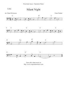 Free Sheet Music Scores: Silent Night, free Christmas cello sheet music 2 1/2 steps up from treble cleff