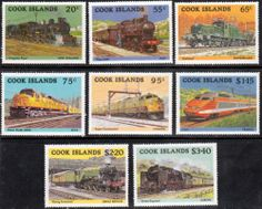 Cook Islands 1985 Trains Set Fine Mint SG 1022 29 Scott 858 65 Other Commonwealth Stamps Here