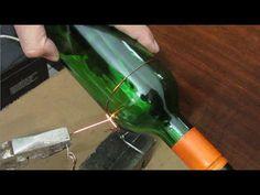Wine Bottle Cutter 30 seconds Perfect Edge Glass Bottle Cutting GreenPowerScience Guitar Slide - You Liquor Bottle Crafts, Alcohol Bottles, Liquor Bottles, Cutting Glass Bottles, Recycled Glass Bottles, Bottle Cutter, Glass Cutter, Bottle Art, Beer Bottle