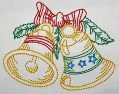Bells and Bow color work machine embroidery Embroidery Applique, Machine Embroidery, Applique Designs, All Design, I Shop, Patches, Bows, Winter, Artwork