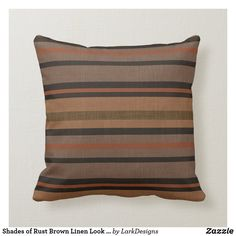 Shades of Rust Brown Linen Look Striped Pillow Brown Cushions, Striped Linen, Decorative Cushions, Stripes Design, Custom Pillows, Knitted Fabric, Rust, Shades, Chocolate Brown