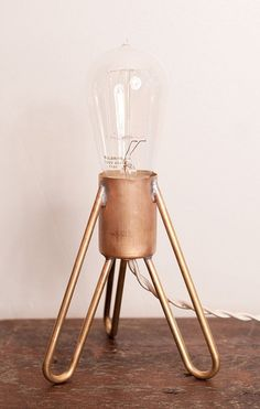 Amazing and simple Rocket Industrial Table Lamp with Edison Bulb.