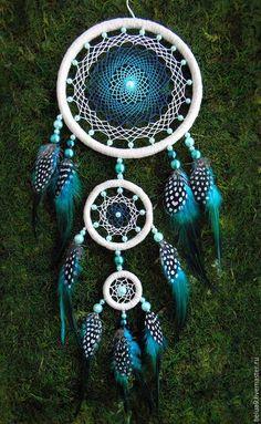 """Ловцы снов ручной работы. Ярмарка Мастеров - ручная работа. Купить Ловец снов """"Синяя птица"""". Handmade. Бирюзовый"""