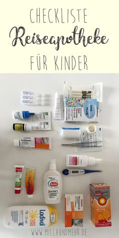 Reiseapotheke für Kinder ab zwei Jahren mit Checkliste What should not be missing in the first-aid kit for children and infants from the age of two? My tips and experiences for a stress-free family vacation. Baby Food By Age, Milk And More, Coaching, Pregnant Mom, First Aid Kit, Baby Hacks, Baby Registry, Stress Free, Kids And Parenting