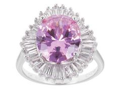 Bella Luce 10.30 cttw Pink Oval & White Baguettes Diamond Simulant Ballerina-Set Sterling Silver Ring