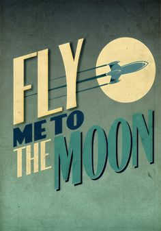 Fly Me To The Moon Vintage Poster Retro Art Print