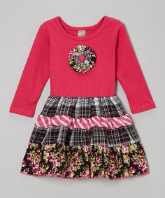 Take a look at this Hot Pink Floral Tiered Dress - Toddler & Girls by Lele Vintage on #zulily today!
