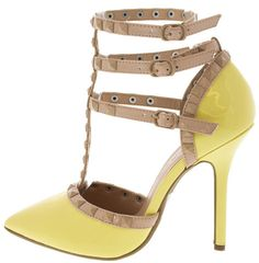 ADORA55E LIGHT YELLOW STUDDED POINTED TOE HEELS ONLY $10.88. All women's shoes, heels, wedges, sandals, and flats are $10.88 a pair.
