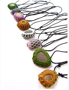 My Next Crochet Project! Crocheted Rock Necklaces by Little Owl Arts