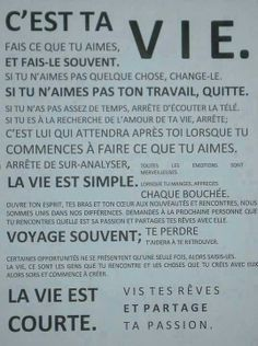 Citations option bonheur: Fais ce que tu veux ! The Words, Words Quotes, Me Quotes, Sayings, Jolie Phrase, Do What You Like, Think, French Quotes, Teaching French
