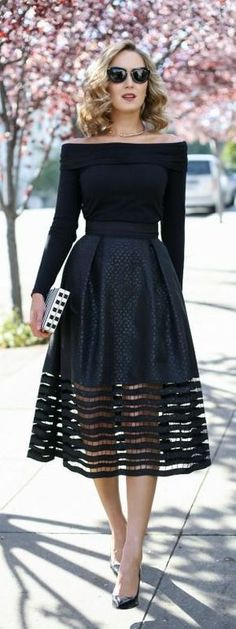 Bertha's Classic Stylish Black Dress - Cocktail dress new Trendy Dresses, Elegant Dresses, Beautiful Dresses, Cocktail Attire For Women, Dress Skirt, Dress Up, Dress Prom, Skirt Pleated, Midi Skirts