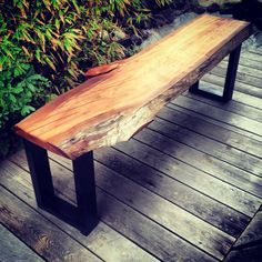 modern Natural live edge, raw edge bench with metal or wood legs