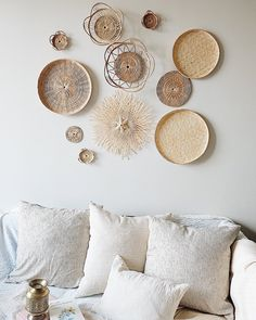 Cheap Home Decor .Cheap Home Decor Baskets On Wall, Woven Baskets, Decorative Wall Baskets, Smooth Walls, Rattan Basket, Boho Living Room, Modern Wall Decor, Basket Decoration, Home Interior