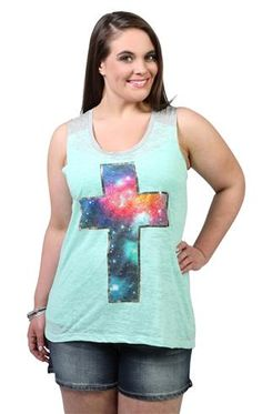 Deb Shops plus size high low tank top with #galaxy #cross screen print