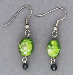 Simply Whispers hypoallergenic and nickel free Jewelry pierced earrings silver French hook lime and tiny Montana blue beads