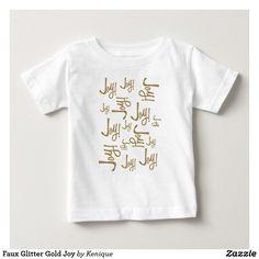 Faux Glitter Gold Joy Baby T-Shirt