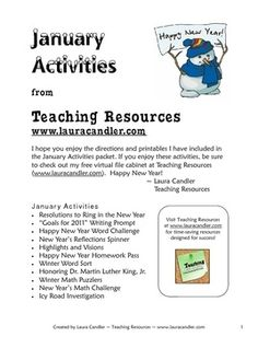 January Activities Teaching Pack - Start January off with a bang when you use these exciting lessons with your students! This 25-page packet includes directions and over a dozen printables including literacy, math, science, and social studies activities. Why spend hours creating your own lessons when the work has been done for you? Most of the lessons are designed for cooperative learning teams or pairs, but they can be used for independent work as well. Preview the entire packet before…
