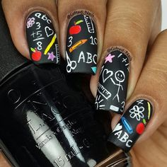 Back to school nails inspired by a chalkboard pattern. I used @opi_products Black Onyx for the base. The details were done using acrylic paints and @stylishnailartshop brush. #chalkboardnailart #chalkboardnails