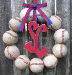 Baseball Love Wreath - With Two DISTRESSED Letters