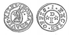 Aquilla Smith's engraving of the 17th C tradesman's token - Thomas Davis, Kilkenny